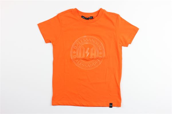 t-shirt tinta unita mezza manica con stampa DANIELE ALESSANDRINI | T-shirts | 1236M0638ARANCIO