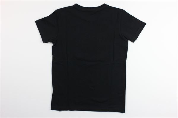 t-shirt tinta unita mezza manica con stampa DANIELE ALESSANDRINI | T-shirts | 1236M0638NERO
