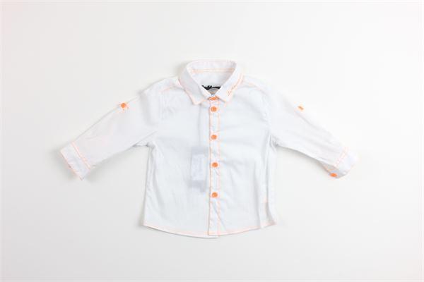 camicia manica lunga con profili in contrasto DANIELE ALESSANDRINI | Camicie | 1295C0319BIANCO/ARANCIO