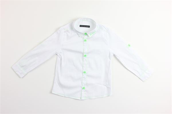 camicia manica lunga con profili in contrasto DANIELE ALESSANDRINI | Camicie | 1295C0319BIANCO/VERDE