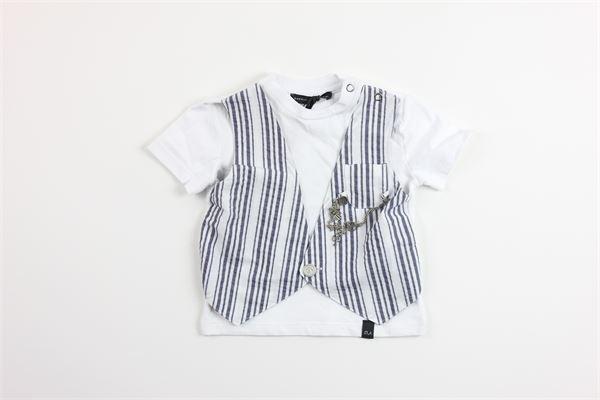 t-shirt mezza manica con finto gilet DANIELE ALESSANDRINI | T-shirts | 1296M0463BIANCO