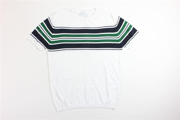 t-shirt mezza manica tinta unita con fantasia a righe DIKTAT | T-shirts | DK77038BIANCO