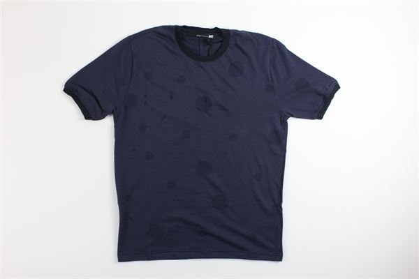 t-shirt mezza manica tinta unita con fantasia pois tono su tono DKT | T-shirts | DK77328BLU