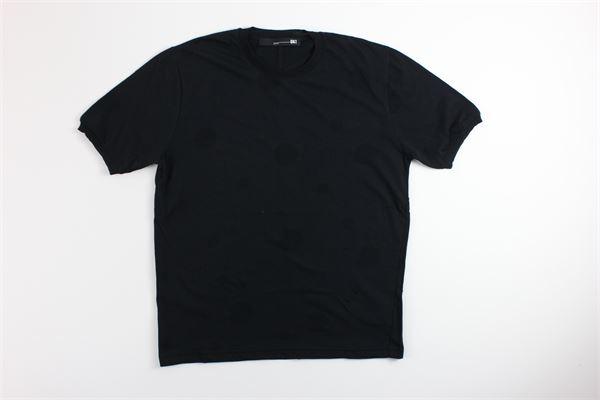 t-shirt mezza manica tinta unita con fantasia pois tono su tono DKT | T-shirts | DK77328NERO