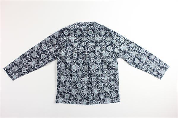 camicia manica lunga tinta unita stampa fantasia DONDUP | Camicie | BC075BLU