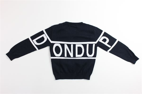 maglia girocollo tinta unita con stampa logo DONDUP | Maglie | BM192BLU