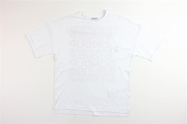 t-shirt tinta unita mezza manica con stampa logo modello over size DONDUP | T-shirts | BS138BIANCO