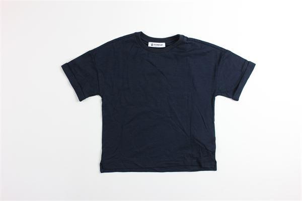 t-shirt tinta unita mezza manica con stampa logo modello over size DONDUP | T-shirts | BS138BLU