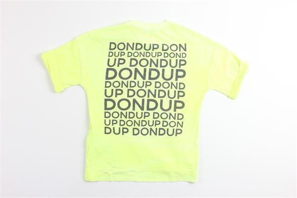t-shirt tinta unita mezza manica con stampa logo modello over size DONDUP | T-shirts | BS138GIALLO FLUO