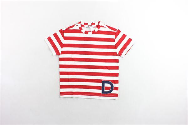 t-shirt mezza manica stampa a righe e logo DONDUP | T-shirts | JE157BIANCO/ROSSO