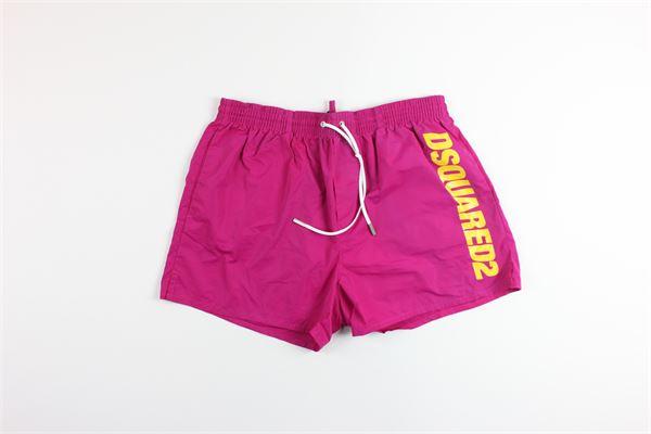 boxer tinta unita con stampa DSQUARED | Costumi | D7B642920MAGENTA