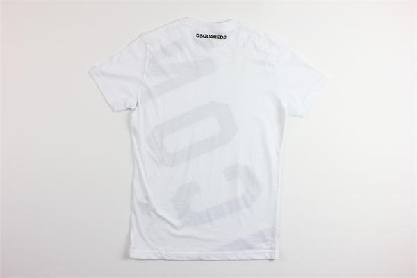 t-shirt mezza manica tinta unita con stampa logo DSQUARED | T-shirts | DQ038TBIANCO