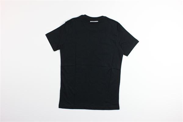 t-shirt mezza manica tinta unita con stampa DSQUARED | T-shirts | DQ0391NERO