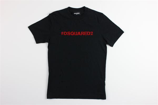 t-shirt mezza manica tinta unita con stampa logo DSQUARED | T-shirts | DQ03XXNERO
