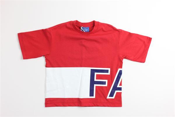 t-shirt mezza manica tinta unita con stampa FAY | T-shirts | 5M8051ROSSO