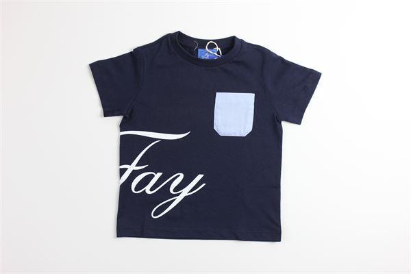 t-shirt mezza manica tinta unita con profili in contrasto FAY | T-shirts | 5M80611BLU