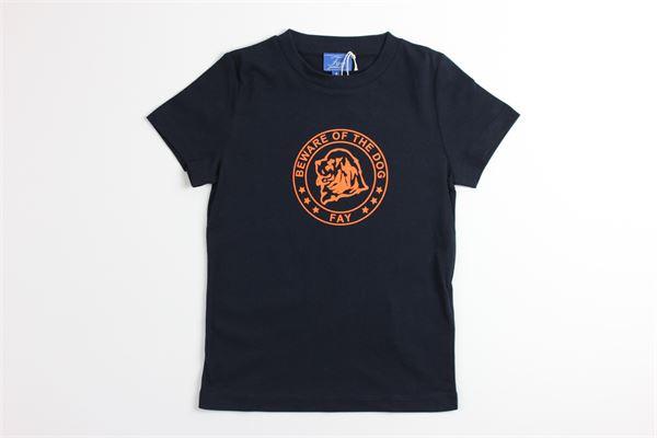 t-shirt mezza manica tinta unita con stampa FAY | T-shirts | NDGB2387765JBLU