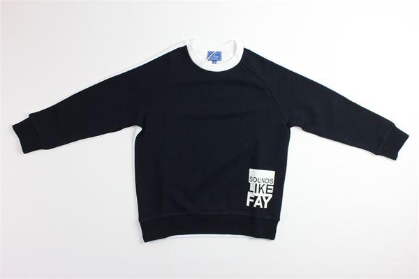 felpa bicolore con stampa FAY | Felpe | PXFU809BLU