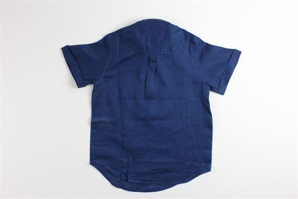 camicia mezza manica tinta unita 100%lino FAY | Camicie | QPYU807BLU