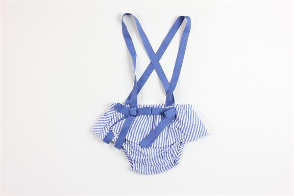 coulotte fantasia a righe c on bretelle e fiocchi 100%cotone FINA EJERIQUE | Coulottes | P20A2243BLU