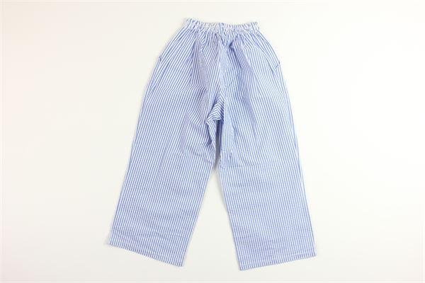 pantalone tinta unita con fantasia a righe 100%cotone FINA EJERIQUE   Pantaloni   P20M2243BLU