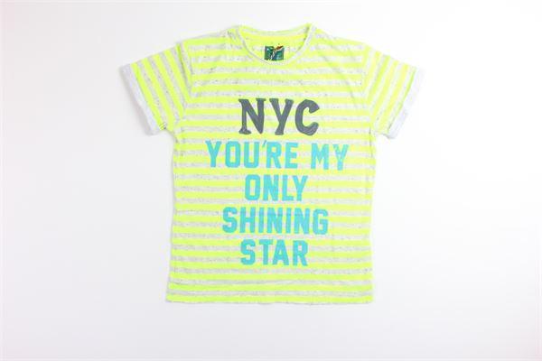t-shirt tinta unita fantasia a righe FRED MELLO | T-shirts | 018330GRIGIO/GIALLO