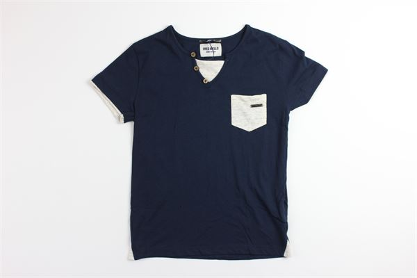 t-shirt tinta unita mezza manica con taschino FRED MELLO | T-shirts | 018877BLU