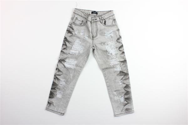 jeand tinta unita in denim con girovita regolabile FUN & FUN | Jeans | FNMBPT7968GRIGIO