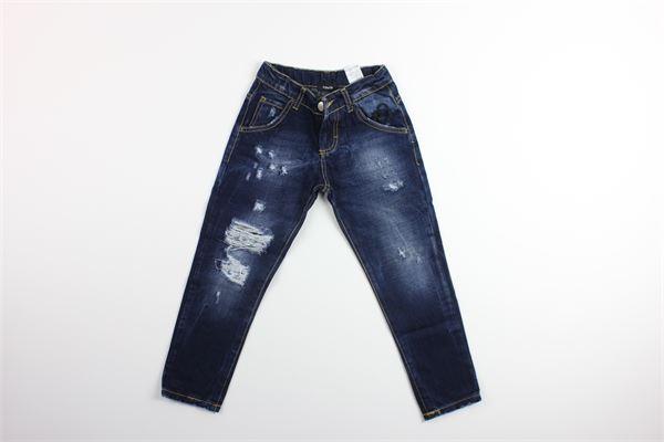 jeand tinta unita in denim con girovita regolabile FUN & FUN | Jeans | FNMBPT7975BLU
