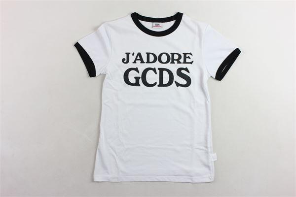 t-shirt mezza manica tinta unita con profili in contrasto e stampa logo GCDS | T-shirts | 019461BIANCO/NERO