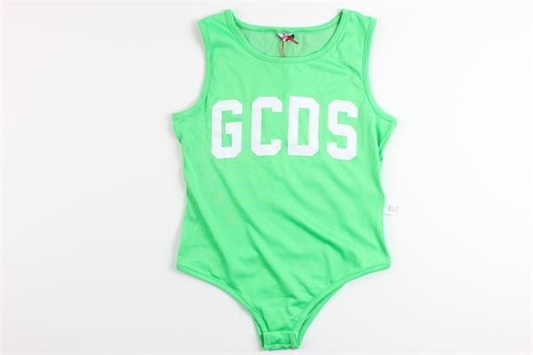 body tinta unita con stampa logo GCDS   Body   022492FLVERDE FLUO
