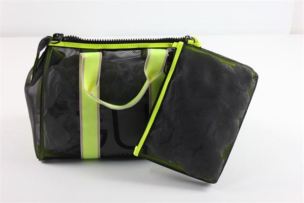 borsa tinta unita con profili in contrasto compresa di pochette GUM | Borse | GUM 5NERO/GIALLO