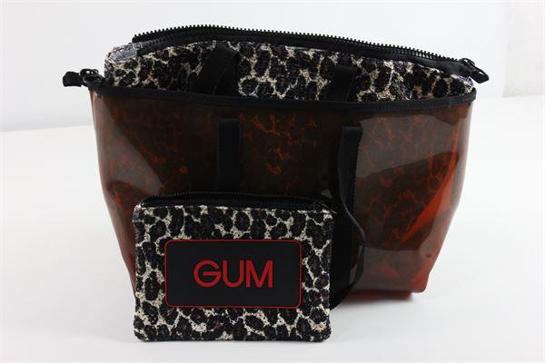 set tre borse mare  tinta unita e stampa maculata GUM | Borse | GUM7NERO