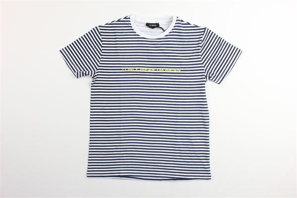 t-shirt mezza manica tinta unita con fantasia a righe I'AM BRIAN | T-shirts | TS1222JBLU
