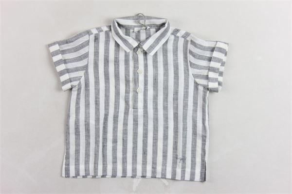 camicia mezza manica 100% lino fantasia rigata IL GUFO | Camicie | ILGUFOCAMICIA1BIANCO