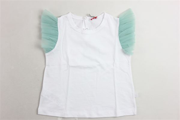 t-shirt giromanica con tulle tinta unita con profili in contrasto IL GUFO | T-shirts | P20TS236M0014BIANCO X
