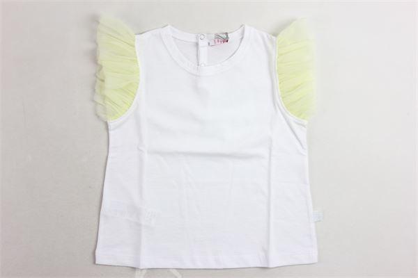 t-shirt giromanica con tulle tinta unita con profili in contrasto IL GUFO | T-shirts | P20TS236M0014BIANCO