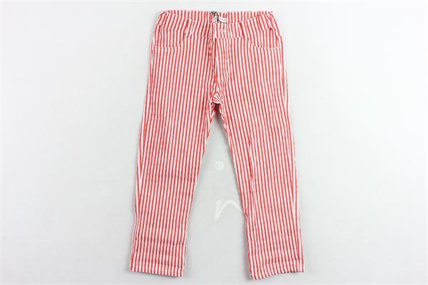 pantalone cinque tasche rigato in cotone girovita regolabile J.O. MILANO | Pantaloni | 074M4ROSSO