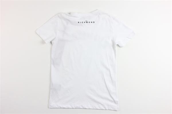 t-shirt tinta unita con stampa e applicazioni JOHN RICHMOND | T-shirts | RGP20129TSBIANCO