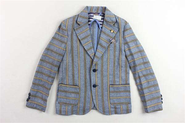 giacca  tinta unita fantasia a righe con taschini JOHN TWING | Giacche | JT4170BLU