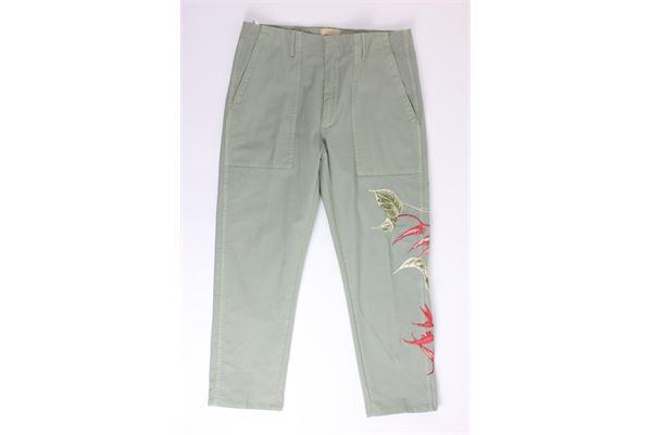 pantalone tinta unita con tasconi con stampa JUCCA | Pantaloni | DP498VERDE MILITARE