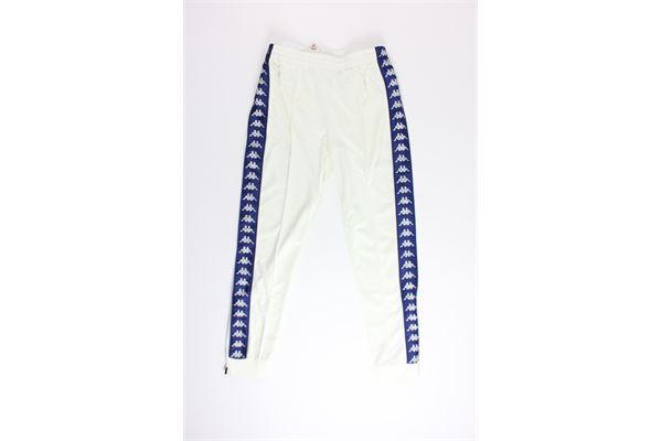 pantalone di tuta triacetato tinta unita con profili in contrasto KAPPA | Pantaloni | 303KUCOBIANCO/BLU
