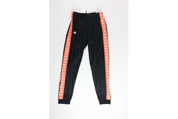 pantalone di tuta triacetato tinta unita con profili in contrasto KAPPA | Pantaloni | 303KUCONERO/ARANCIO
