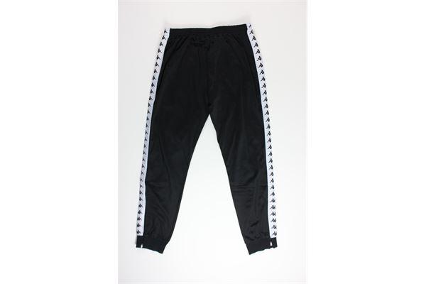 pantalone di tuta triacetato tinta unita con profili in contrasto KAPPA | Pantaloni | 303KUCONERO/BIANCO