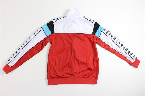 felpa bicolore con zip e stampa KAPPA | Felpe | 303LP6OROSSO/BIANCO
