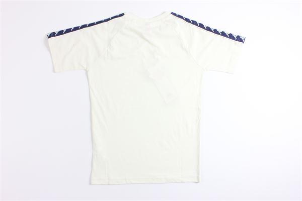 t-shirt mezza manica tinta unita con profili in contrasto KAPPA | T-shirts | 303UV10BIANCO/BLU