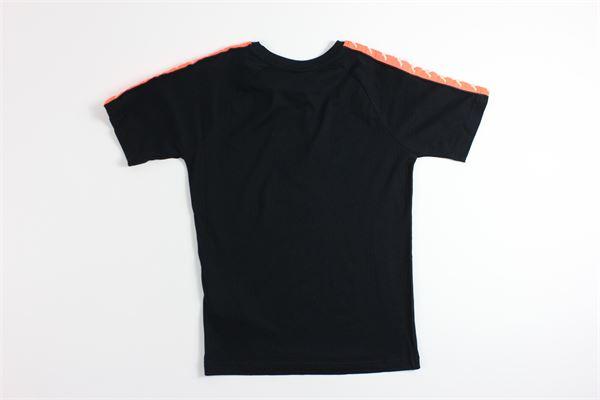 t-shirt mezza manica tinta unita con profili in contrasto KAPPA | T-shirts | 303UV10NERO/ARANCIO