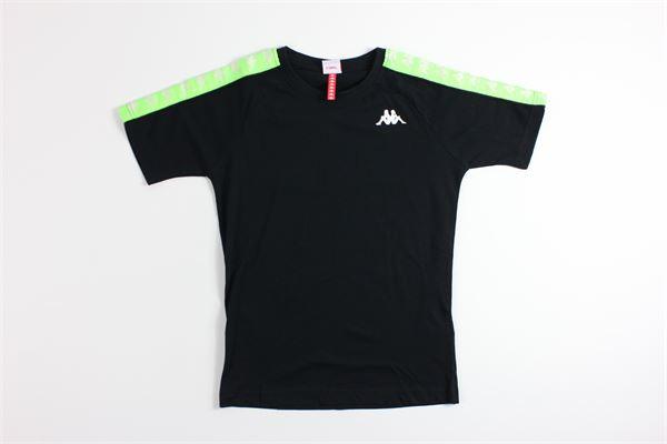 t-shirt mezza manica tinta unita con profili in contrasto KAPPA | T-shirts | 303UV10NERO/VERDE