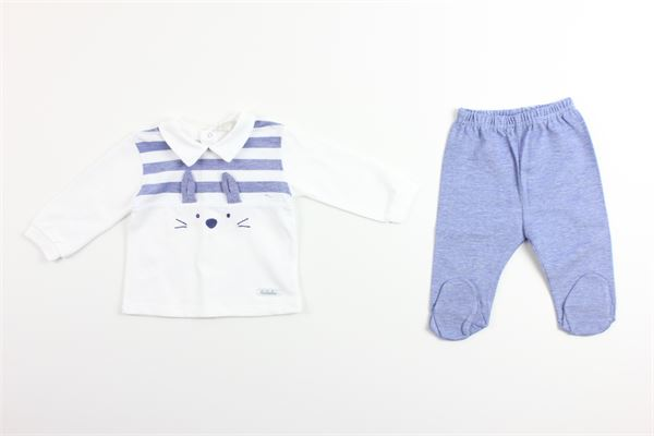 shirt tinta unita con stampa pantalone tinta unita LALALU' | Completi | CJL04CBIANCO/CELESTE