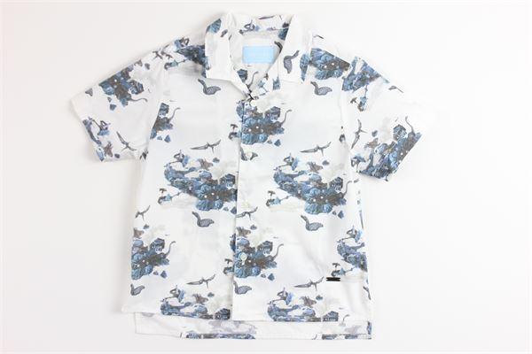 camicia mezza manica tinta unita con stampa LANVIN | Camicie | 4K5040BIANCO